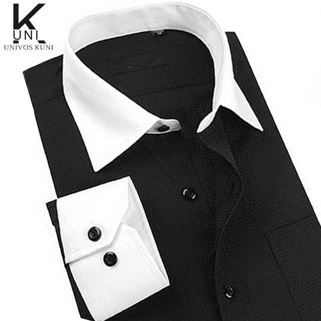 bc8dc553e95c Size M-4XL Men Designer Dress Shirt High Quality French Cuff Non Iron White Mens  Casual Shirts long Sleeve Free Shipping FHY85
