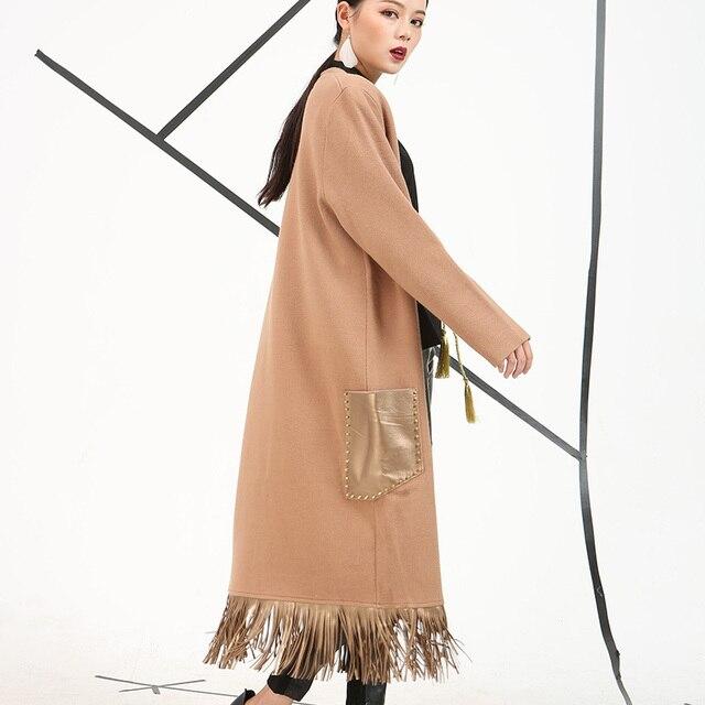 [Soonyour] 2017 весна wwomen пальто Длинный кардиган сплошной цвет женская мода кисточки свободные стиль шерстяные пальто EV084