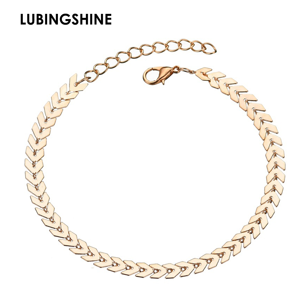 LUBINGSHINE Classic Shiny Simple Arrows Anklet Europe America Style Beach Holiday Jewelry Round Metal Chain Anklet Accessory