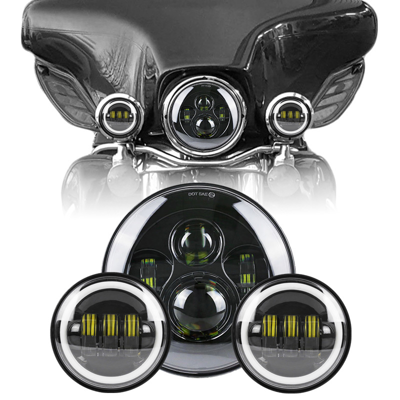 Hi/Low Beam Moto LED Headlight 60W 7 Inch Round Daymaker Lamps + A Pair 4.5  Led Motorcycle Fog Passing Light For Harley