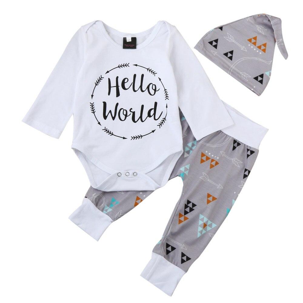 00c73b8d5 Infant Newborn Baby Bear Arrow Romper Pants Hat Outfits 3 Piece Unisex  Clothes Sets Clothing, ...