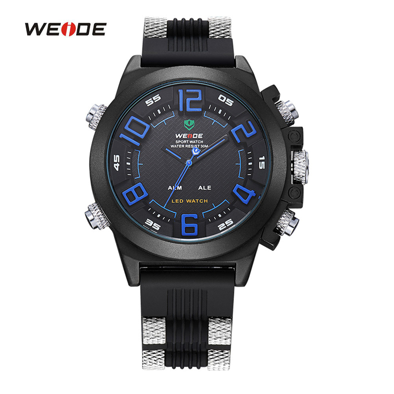 WEIDE Watches Men Luxury Brand Famous LOGO Military Analog Digital Date Week Alarm Display Sports Watch Relogio Masculino weide original brand watches men sport quartz analog digital display full stainless steel famous logo watch with gift paper box