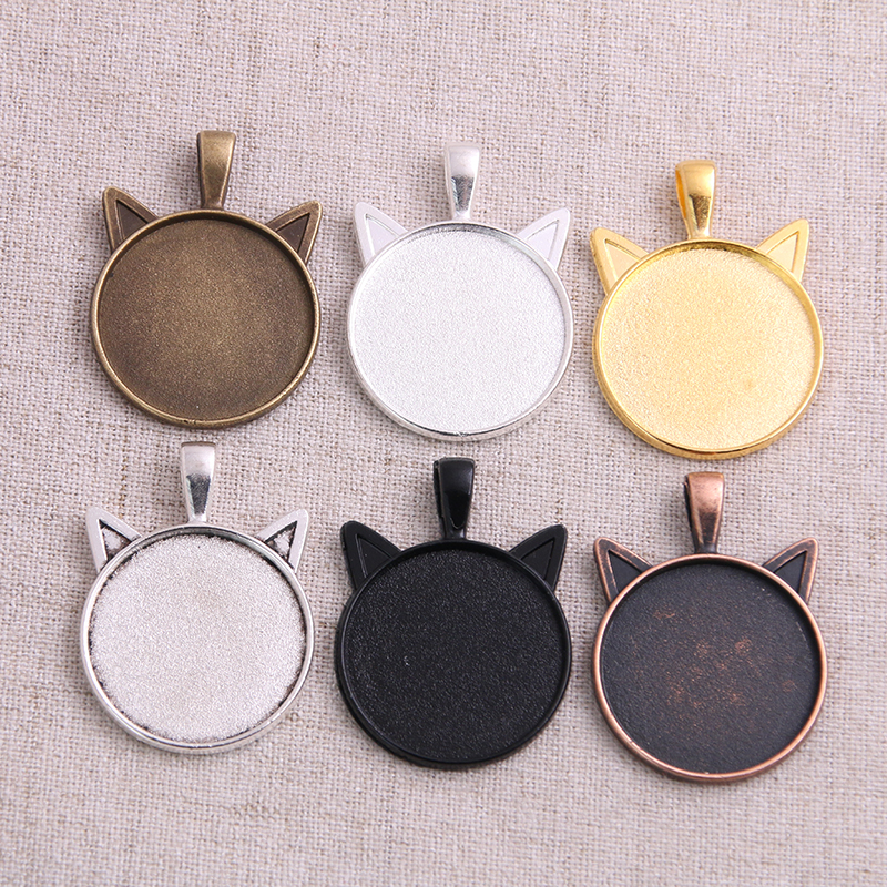 4pcs 25mm Inner Size 6 Colors Plated Cat Pattern Series Fit 25mm Glass Cabochon Base Setting Tray;Lose Money Promotion