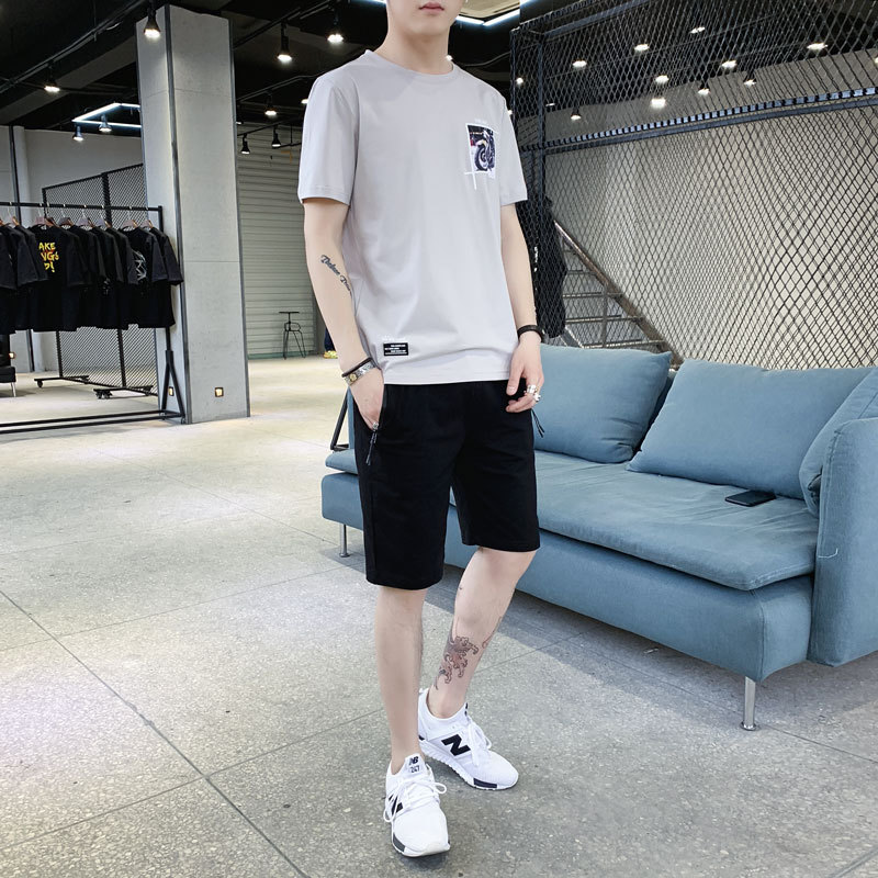 New Men's Tops Tees Short Sets Summer Casual Cotton Letter Print Short Sleeve Tshirts Men Fashion Track Suit Fitness Street Wear