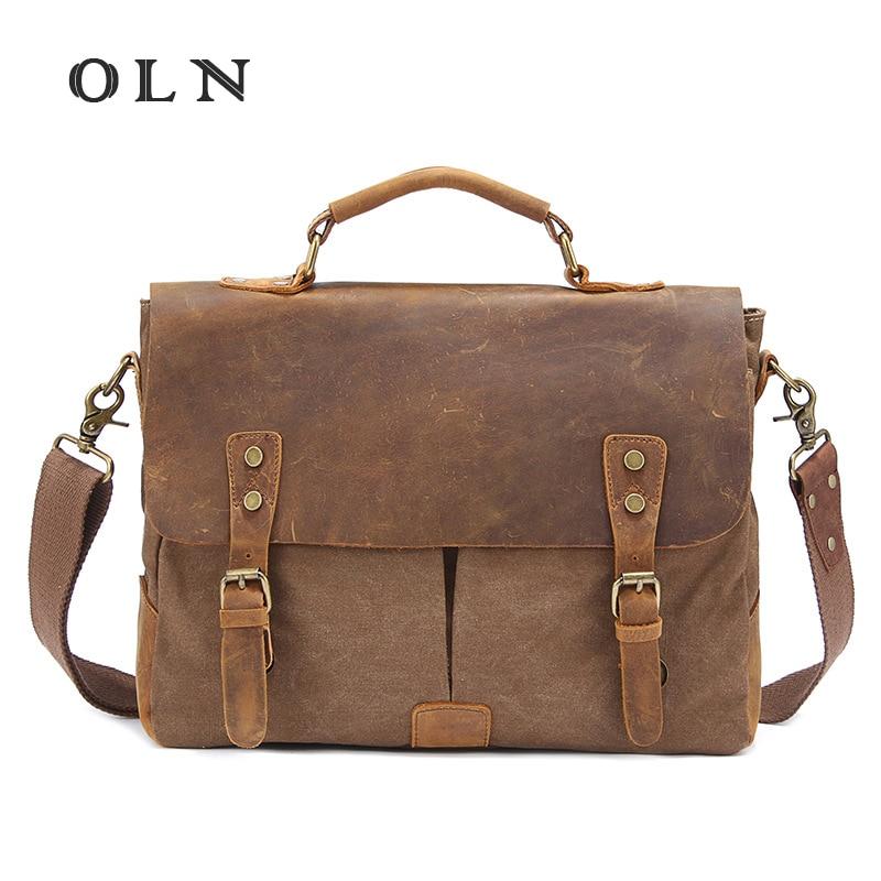 OLN Brand Men Canvas Messenger Bags Briefcase Business Shoulder Bag Large Computer Laptop Handbag Bag Men's Casual Travel Bags цена