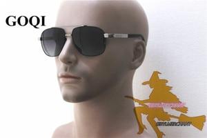 Image 2 - 무료 배송, goqi man 빈티지 금속 프레임 직사각형 편광 선글라스, 60mm 편광 된 운전 남자 uv400 선글라스,
