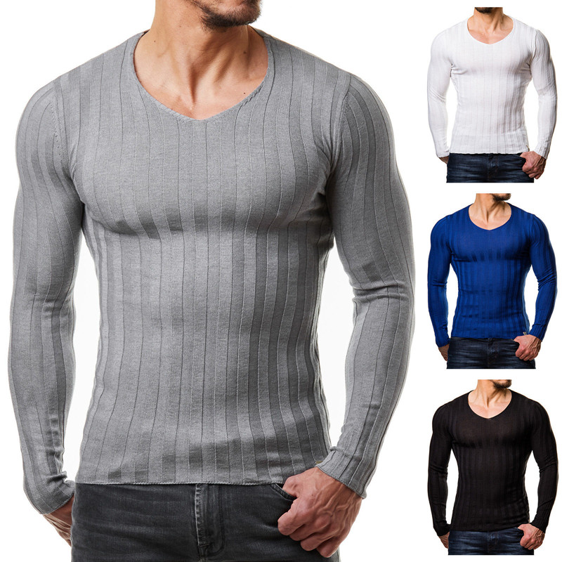 Knitted Tshirt Men Slim Fit Sweater Casual Tee   Shirt   Pullover V Neck Knitting   T  -  shirt   Fashion Solid Warm Top Plus Size 3XL 2018