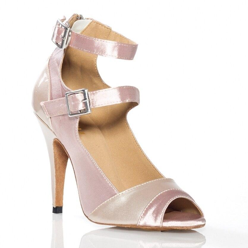 Nude Satin Womens Latin dance shoes Ballroom dancing shoes Salsa Samba Tango dance shoes High heel 6301