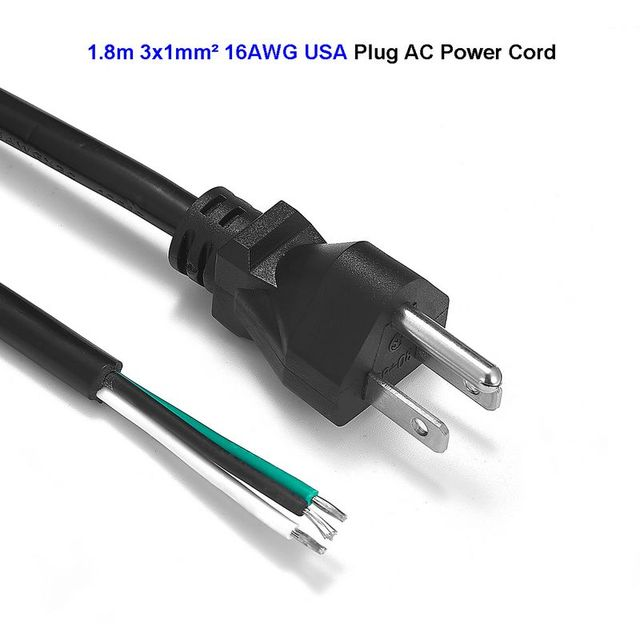 us american power cord 1 8m 6ft 16awg wires usa plug power supply rh aliexpress com ac power connector wiring ac power connector wiring