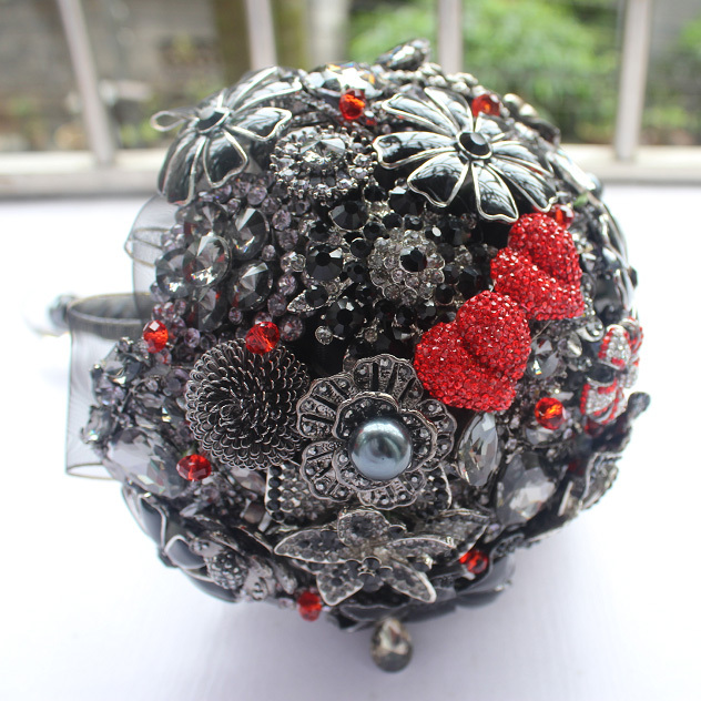 EMS free shipping 2017 black and red wedding bouquet / bridal ...