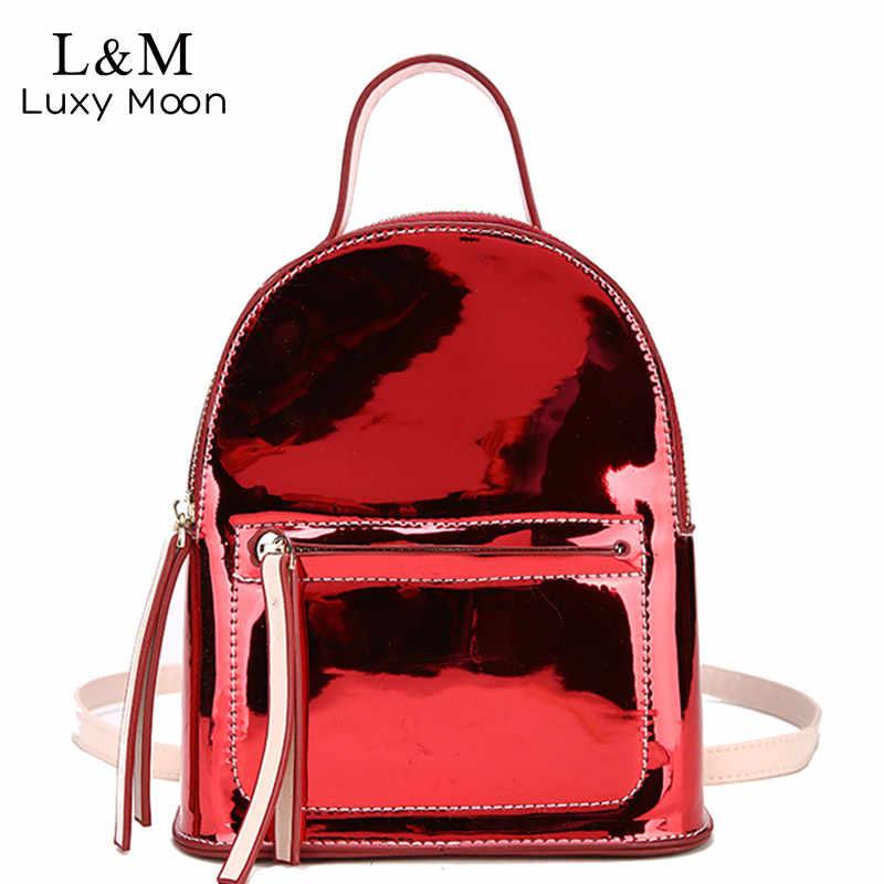 b2a5829b7748 Luxy moon 2018 Для женщин Мода лазерная мини-рюкзаки Карамельный цвет  кожаный рюкзак для девочек