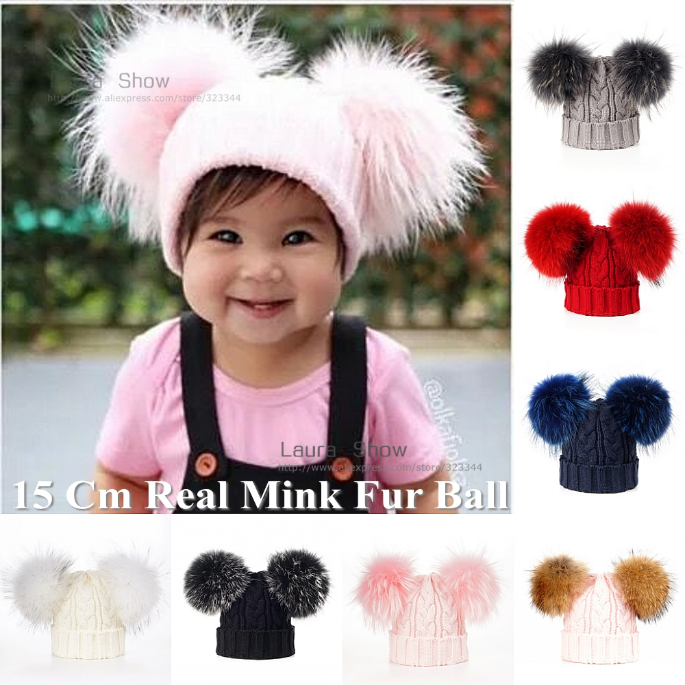 LAURASHOW Baby Winter Real Mink Fur Ball Beanie Knit Hat Kids Warm Raccoon Fur Pom Poms Skullies Beanies Cap Wool
