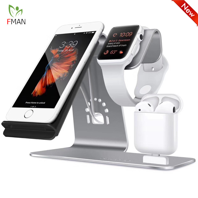 3 in 1 Wireless Charging Station Phone Holder Qi Fast Wireless Charger Base For iPhone 8 X Samsung Galaxy S6 S7 S8 Apple i-Watch