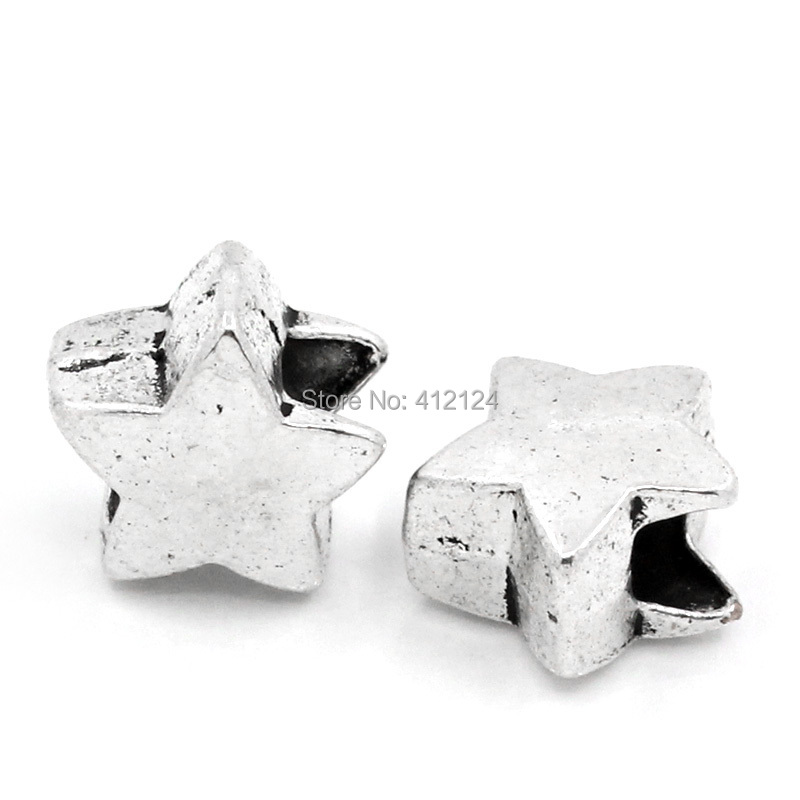 20Pcs Silver Tone Star Shape European Spacer Beads Fit Charms Bracelets Jewelry Findings 12x11mm