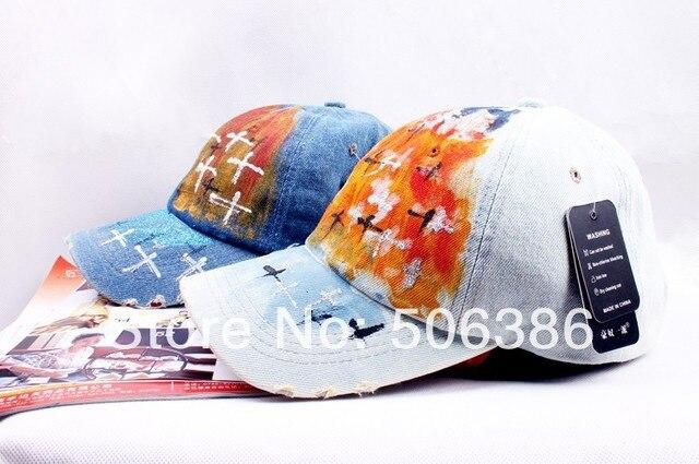 Freeshipping моды высокого качества мужчины/женщины цветной рисунок бейсболка, мужчины/женщины спорт крышка, Досуг хлопок jean cap, Beret Cap