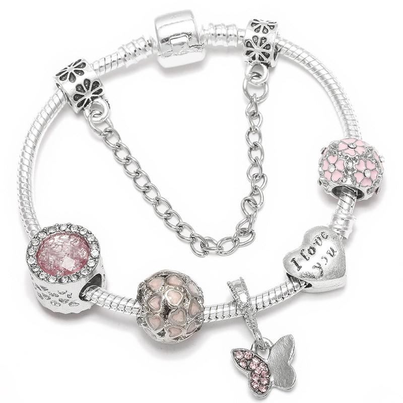 BAOPON Прямая поставка винтажные Подвески серебряного цвета браслеты для женщин DIY Кристальные бусины изящные браслеты для женщин Pulseira ювелирные изделия - Окраска металла: Type 14