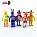 5 Unids/lote Acción PVC de 5.5 Pulgadas de Cinco Noches En Freddy figura de Juguete Foxy Chica Freddy Freddy Con 2 LED de Color de Oro luces