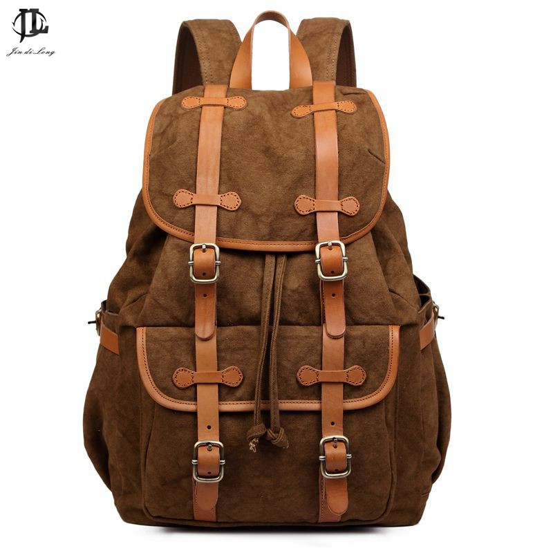 New Fashion School Bags For Teenagers Men Vintage Women Bag Tree Skin Cream Leather With Canvas Backpack Drawstring Bag aosbos fashion portable insulated canvas lunch bag thermal food picnic lunch bags for women kids men cooler lunch box bag tote