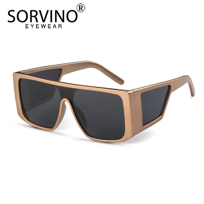 1a25b537f0c77 SORVINO Retro Big Square Frame Mens Sunglasses Luxury Brand Designer  Oversize Black Visor Sun Glasses Men