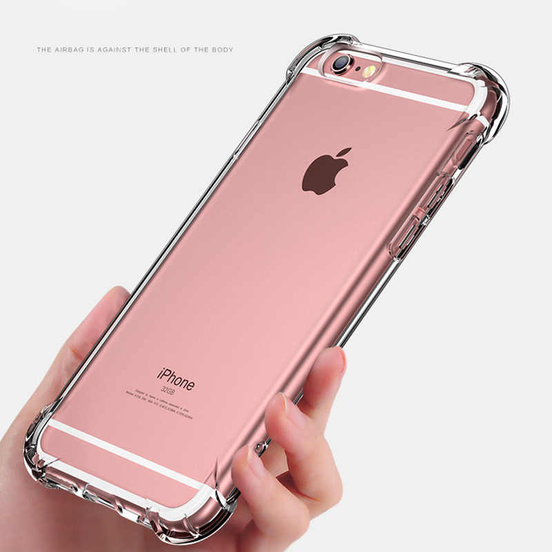 size 40 58de5 ac818 Shockproof Silicone Case for iPhone 8 8 Plus Cases Soft Clear Ultra Thin  Anti-knock Case for iPhone XR XS Max X 6 6S 7 7 Plus