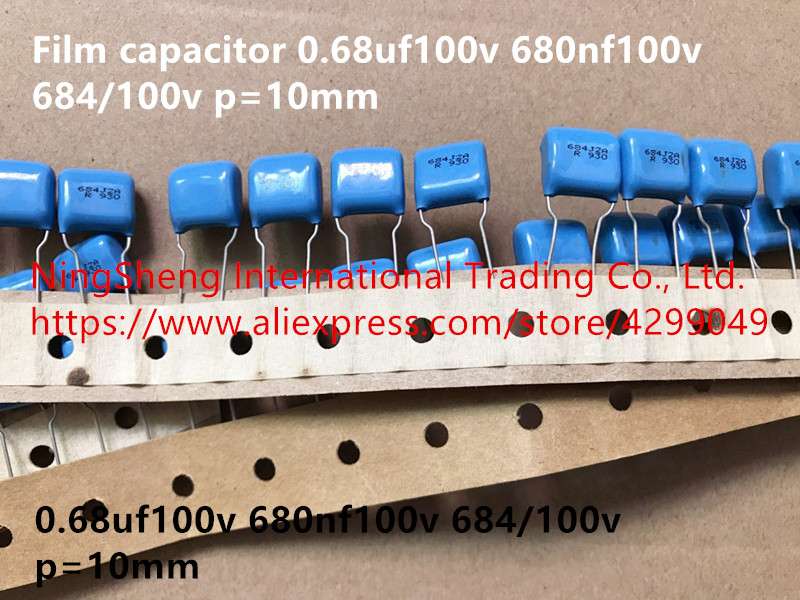 Original new 100% Japan import film capacitor 0.68uf100v 680nf100v 684/<font><b>100v</b></font> p=10mm (Inductor) image