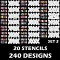 Пользовательские Боди-Арт Аэрограф Ногтей Трафарет Шаблоны Набор 3 с 20 Трафарет Шаблон Листов (300 Конструкций)
