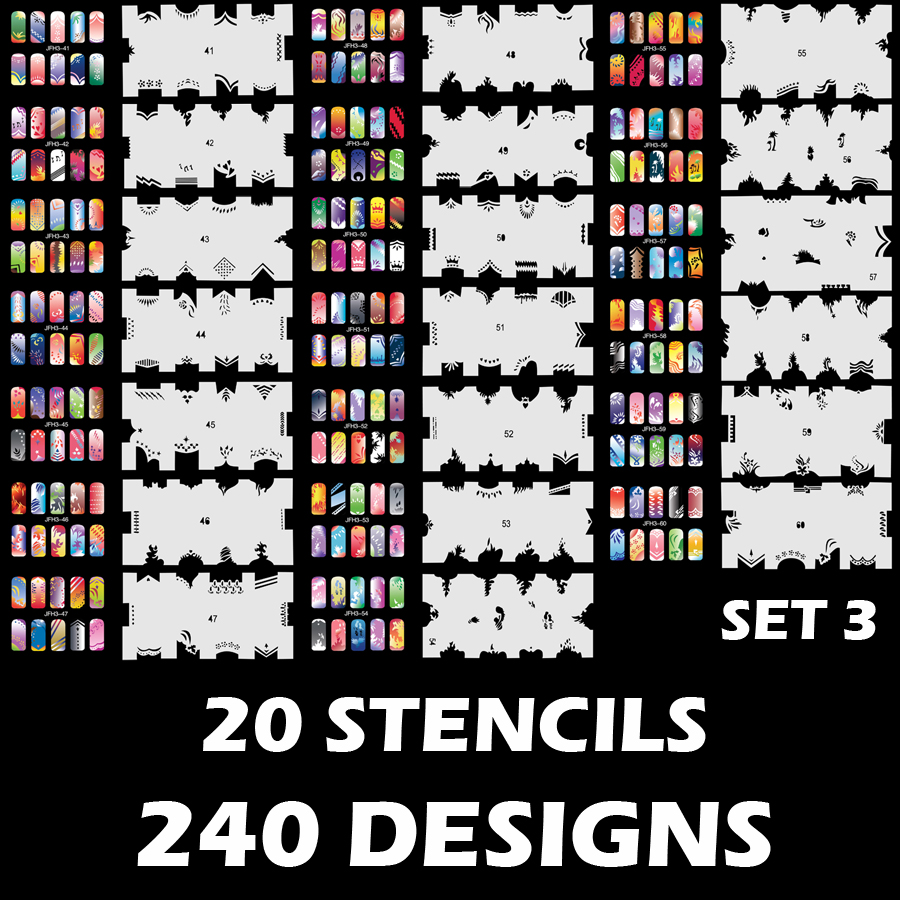 Custom Body Art Airbrush Nail Art Templates Stencil Set 3 with 20 Stencil Template Design Sheets (300 Designs)