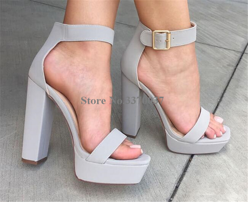 d214cfc2e95c9 Women Fashion Style Open Toe Suede Leather High Platform Chunky Heel  Sandals Ankle Strap Thick High Heel Sandals Grey Pink Shoes-in High Heels  from Shoes on ...