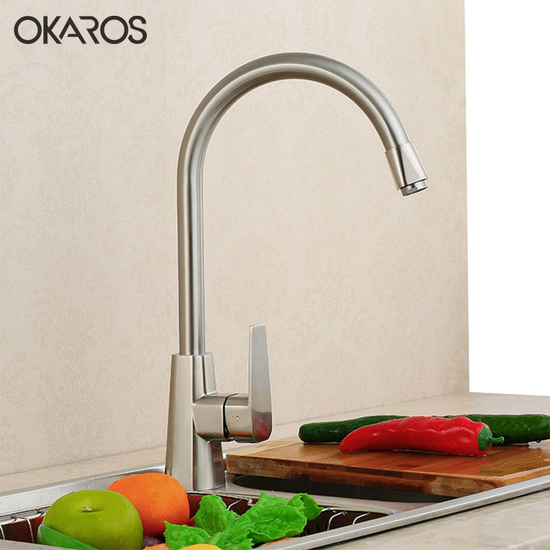 OKAROS Kitchen Faucet Nickel Brushed Brass Single Handle Hole Deck Mounted 360 Degree Rotation Vessel Sink  Mixer Tap kemaidi fashion deluxe kitchen faucet mixer tap deck mounted kitchen faucet nickel brushed brass material kitchen taps