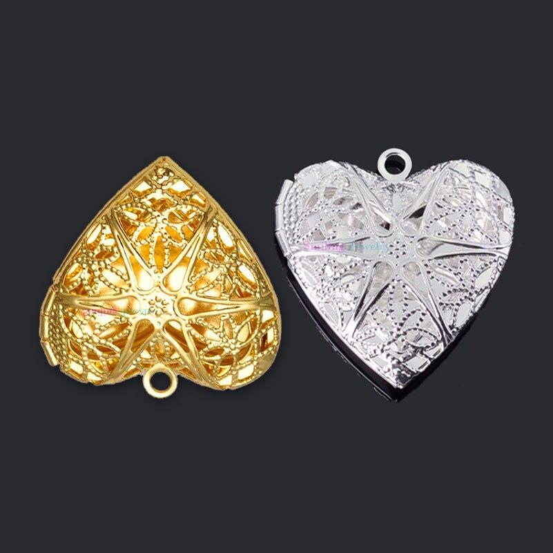 Prix pour 20 pcs 25mm * 26mm Multi-couleur DIY Bijoux En Laiton Creux Or Argent Plaqué Photo Coeur Médaillons Huiles essentielles Médaillons Pendentifs