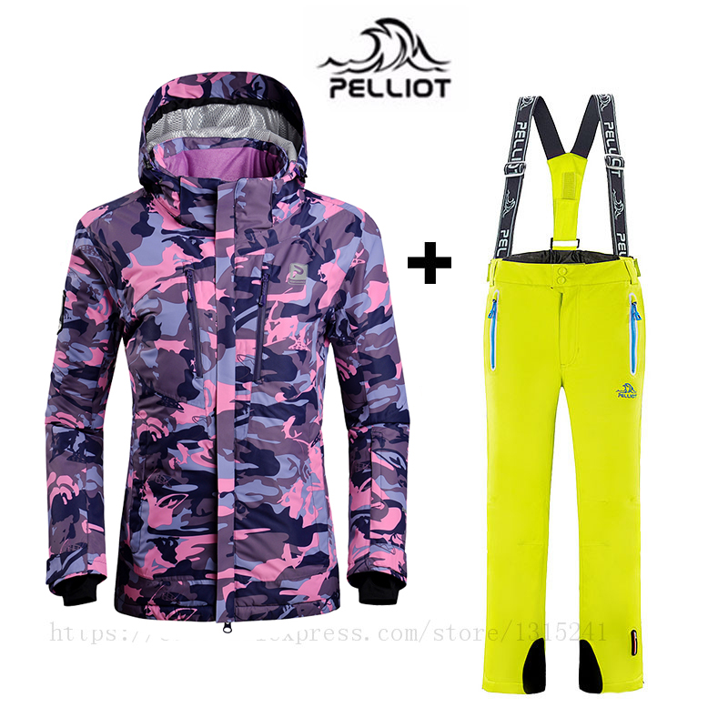 0d14de04ef Pelliot Famous Brand Women s Ski Suit Ski Jacket + Pant High Quality Waterproof  Windproof Breathable Snowboard Jacket for Women