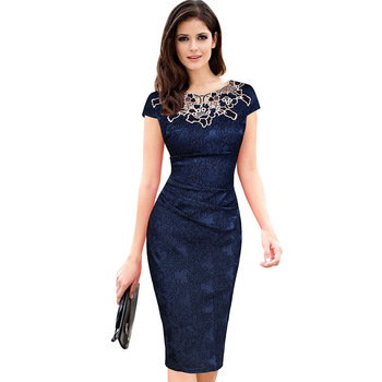 Euro-US style, 2019 new spring summer Women's clothing,Pencil dress,Lace ,Sexy,Round neck,
