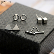 JOYROX Best Lady 4Pairs/Set Fashion Triangle Square Earring 2017 Creative Design Geometric Party Stud Earrings Jewelry For Women