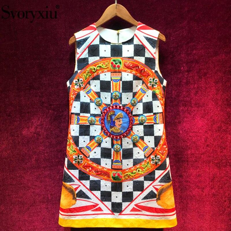 Svoryxiu 활주로 여름 Vintage 자 자카드 민소매 숏 Dress Women's luxury Diamond lattice Warrior Print 드레스-에서드레스부터 여성 의류 의  그룹 1