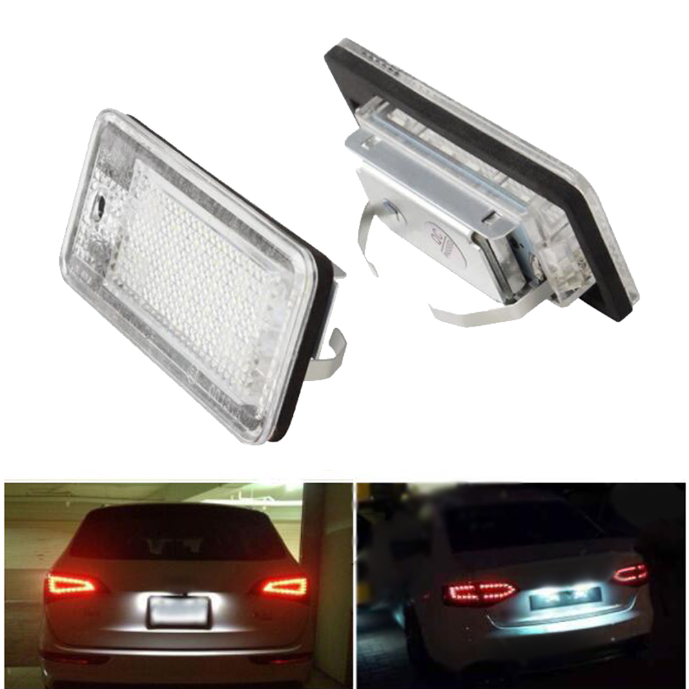 2Pcs Car-styling LED License Plate Lights 12V For Audi A4 b6 8E A3 S3 A6 c6 Q7 A4 b7 A8 S8 S6 RS4 RS6 Accessories smaart v 7 new license