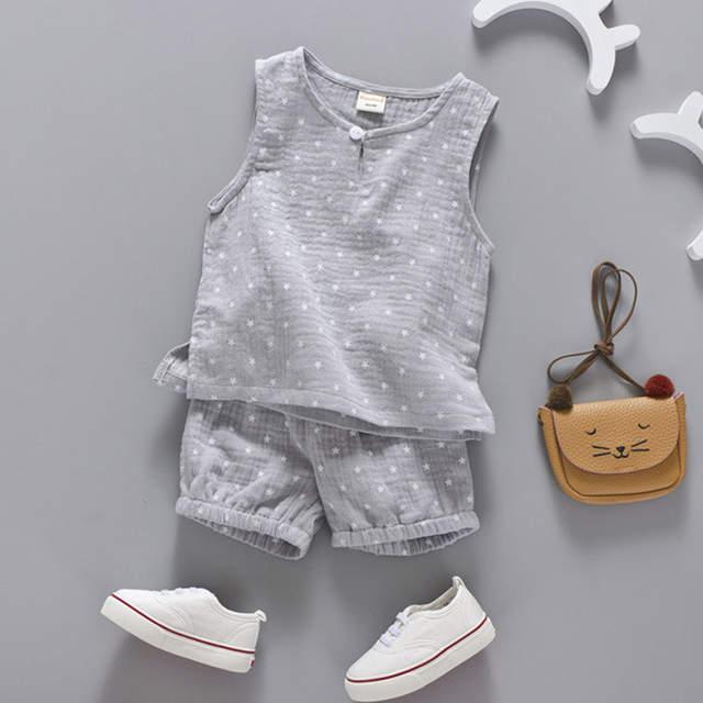 bf811569739 placeholder Cotton Linen Boys Girls Suit Summer Sleeveless Vest Shorts 2pcs  Suit Children Set 2018 Clothing Kids