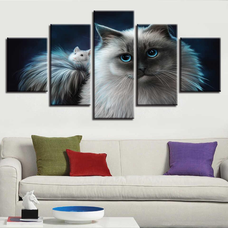Постеры с произведениями искусства модульная холст картины 5 шт. животные Кошка и маленькая белая мышь художественные картины HD принты Настенный декор домашняя комната