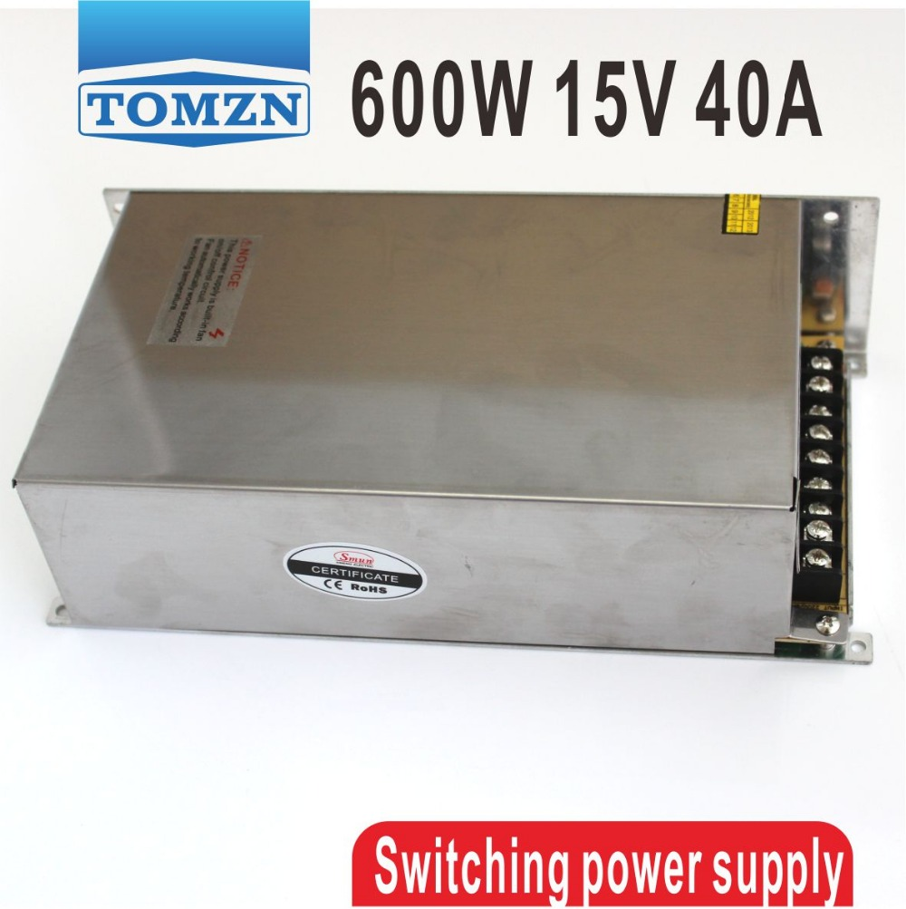 600W 15V 40A output 110V input Single Output Switching power supply for LED Strip light AC to DC smps single output uninterruptible adjustable 24v 150w switching power supply unit 110v 240vac to dc smps for led strip light cnc