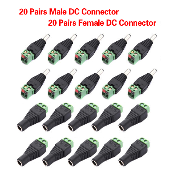 DC12V 20pcs Male + 20pcs Female 2.1x5.5MM DC Power Plug Jack Adapter Connector Plug for CCTV Single Color LED Strip Light 12v male female 2 1x5 5mm dc power jack plug adapter connector for cctv single color led strip light