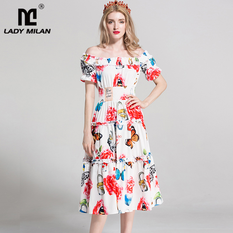 New Arrival 2018 Womens Slash Neckline Short Sleeves Floral Printed Tiered Ruffles Elegant Fashion Casual Runway Dresses