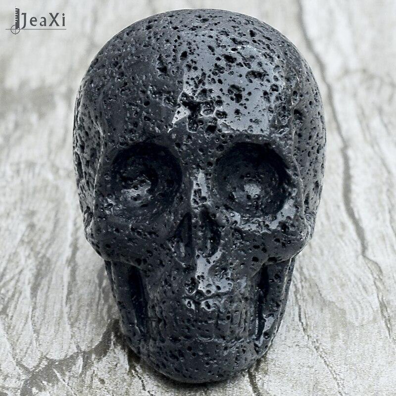 Atemberaubende 2 zoll Schwarz Lava schädel statue natürliche Vulkanstein schädel-figur Hand geschnitzt kristall quarz knochen feng shui healing