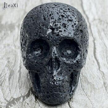Impresionante 2 Pulgadas De Lava Negro Cráneo Estatua Natural Volcánico Piedra Cráneo Figurilla Tallada A Mano De Cristal De Cuarzo Hueso Feng Shui De Curación