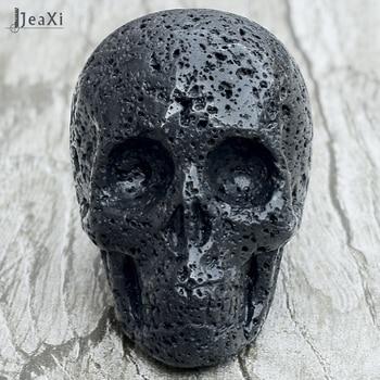 Impresionante estatua de calavera de Lava negra de 2 pulgadas piedra volcánica natural figura de calavera tallada a mano de cristal de cuarzo hueso feng shui sanación