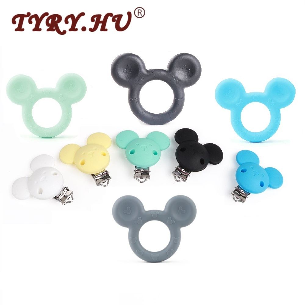 TYRY.HU 1pc Baby Teether Mickey Silicone Baby Holder Clip Mouse Cartoon Chew Pendant Nursing Pacifier Clip Necklace Newborn Toy