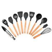 11 pcs wooden handle silicon gel kitchen utensils non stick pan kitchen cooking scoop set kitchen gadgets cooking tools