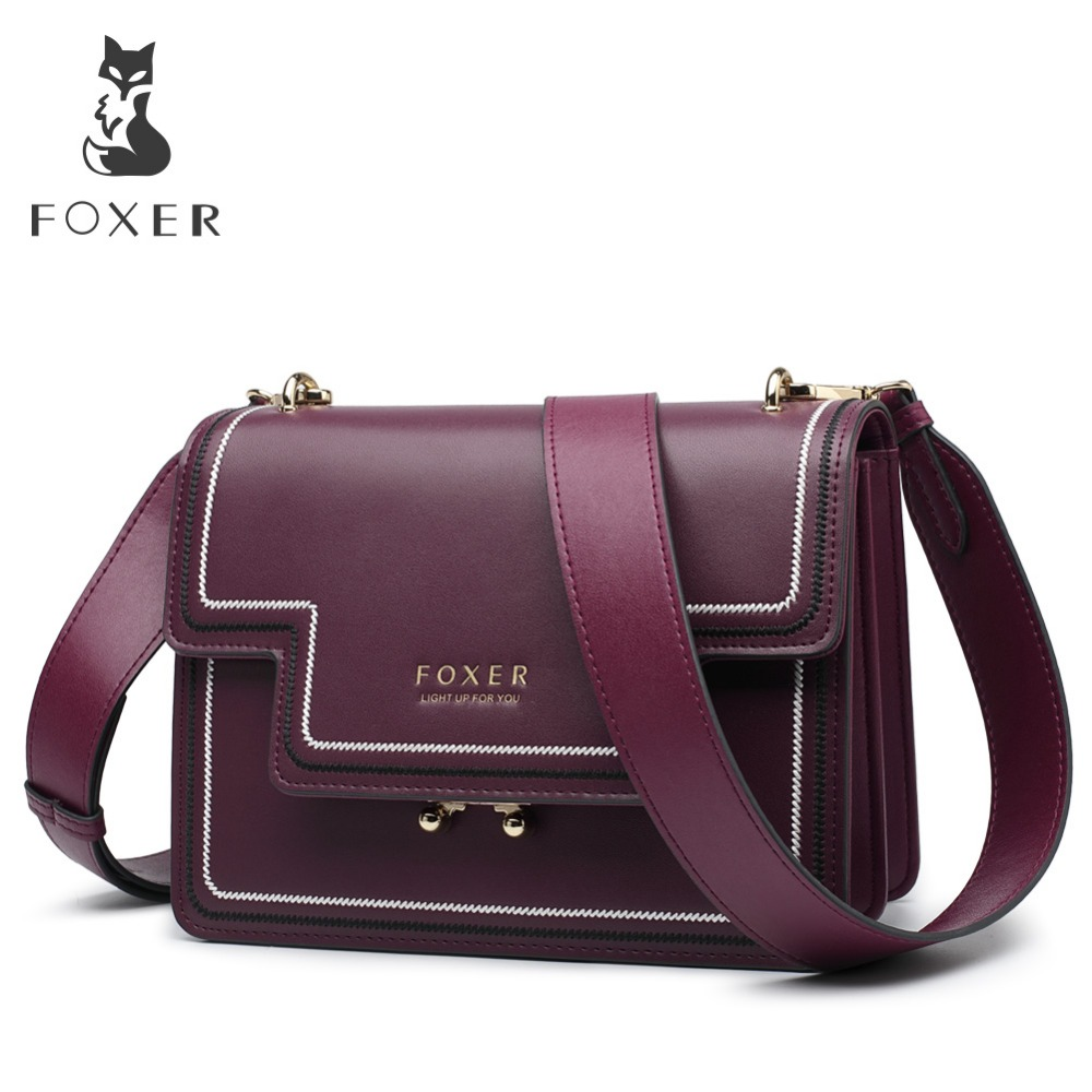 FOXER Brand Split Leather Stylish Women Shoulder Bags Female Large Capacity Luxury Soft Messenger Bags Valentine's Day Gift