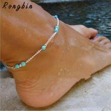 Women Summer Foot Jewelry Boho Gold Silver Beach Multi Coin Beaded Chain Bohemian Anklet Feet Bracelet Girl Bijoux