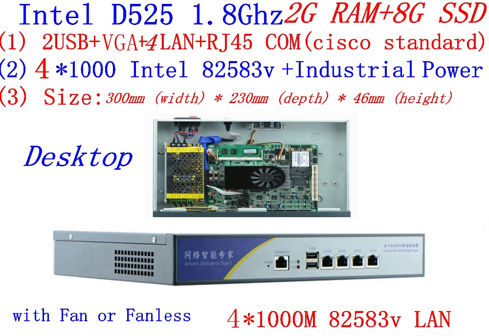 BAS High Performance Core Router Intel D525 1.8Ghz Dual Core Support ROS Mikrotik PFSense Panabit Wayos Webcache 2G RAM 8G SSD