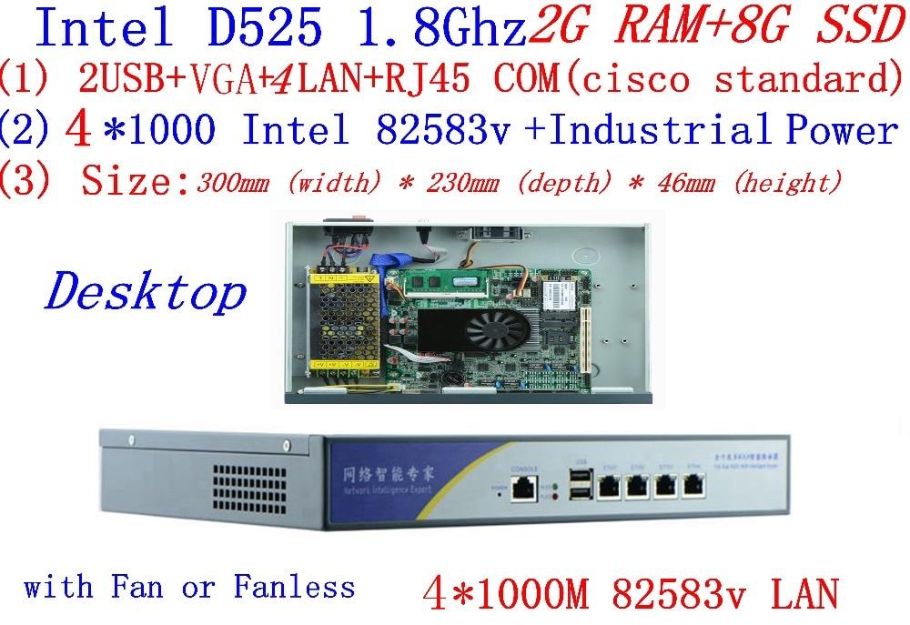 BAS High Performance Core Router Intel D525 1.8Ghz Dual Core Support ROS Mikrotik PFSense Panabit Wayos Webcache 2G RAM 8G SSD