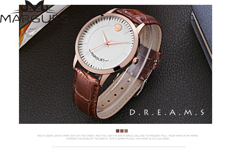 Couple Watches Men And Women Quartz Watch Waterproof Lovers Simple Fashion Writewatch Leather Strap Clock 2019 New MARGUES Brand